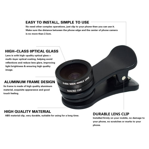 3 in 1 External Clip-on Cell Phone Camera Lens Kit HD 105° 0.65X Wide Angle Lens &amp; 15X Micro Lens &amp; 180° Fisheye Lens for SmartphoCellphone &amp; Accessories<br>3 in 1 External Clip-on Cell Phone Camera Lens Kit HD 105° 0.65X Wide Angle Lens &amp; 15X Micro Lens &amp; 180° Fisheye Lens for Smartpho<br>