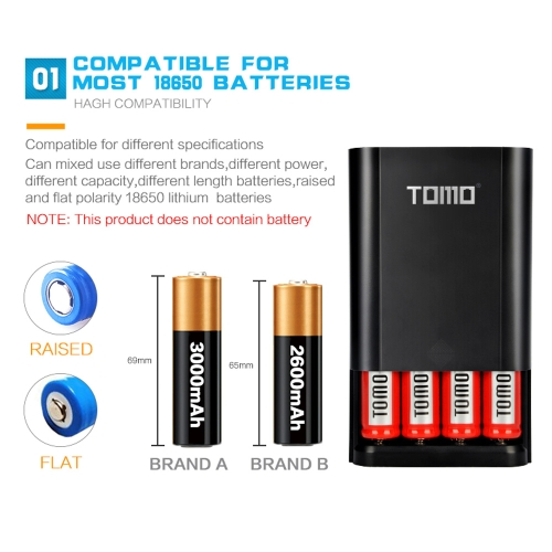 TOMO M4 Battery Charger 4*18650 Power Bank External USB Charger with Intelligent LCD Display for iPhone X Samsung S8 Note 8Cellphone &amp; Accessories<br>TOMO M4 Battery Charger 4*18650 Power Bank External USB Charger with Intelligent LCD Display for iPhone X Samsung S8 Note 8<br>