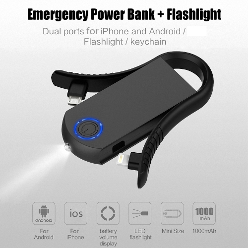 Power Bank + Flashlight Outdoor Emergency Charger Keyring Built-in Interchangeable Lightning Cable and Micro USB Cable 1000mAh BatCellphone &amp; Accessories<br>Power Bank + Flashlight Outdoor Emergency Charger Keyring Built-in Interchangeable Lightning Cable and Micro USB Cable 1000mAh Bat<br>