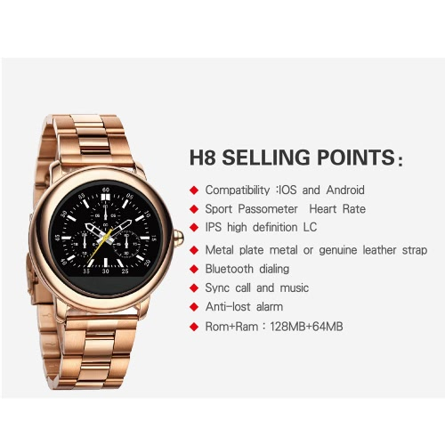 H8 Smart Bluetooth Watch 1.22 IPS 240*240pixel Touch Screen MTK2502C 128MB 64MB 270mAh Battery BT4.0 Waterproof Wristwatch PedomeCellphone &amp; Accessories<br>H8 Smart Bluetooth Watch 1.22 IPS 240*240pixel Touch Screen MTK2502C 128MB 64MB 270mAh Battery BT4.0 Waterproof Wristwatch Pedome<br>