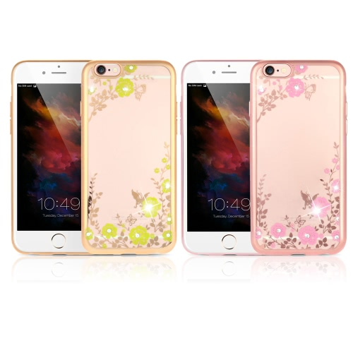 Original KKmoon Luxury Protective Clear TPU Back Case Bling Rhinestone Bumper Frame Flexible Design with Crystal Diamond Plating Phone Shell Cover for 6 Plus 6S Plus 5.5inch