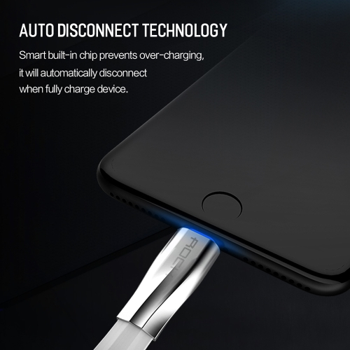 ROCK Auto Disconnect Lightning Cable Salmon Series Breathing Light Metal Housing Durable Lightning Cable For iPod iPhone iPad iOSCellphone &amp; Accessories<br>ROCK Auto Disconnect Lightning Cable Salmon Series Breathing Light Metal Housing Durable Lightning Cable For iPod iPhone iPad iOS<br>