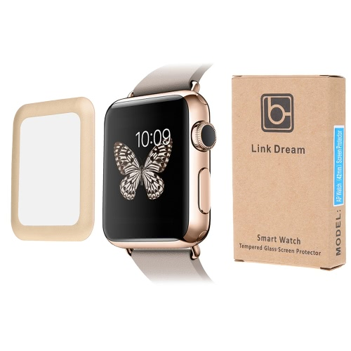 Link Dream Premium Tempered Glass Screen Protector Cover for 42mm Apple Watch iWatch Overall Protective Metal Frame 8-9H 0.2mm ThiCellphone &amp; Accessories<br>Link Dream Premium Tempered Glass Screen Protector Cover for 42mm Apple Watch iWatch Overall Protective Metal Frame 8-9H 0.2mm Thi<br>