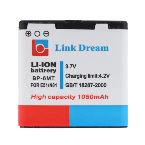 Link Dream 3.7V 1050mAh Rechargeable Li-ion Battery High Capacity Replacement for Nokia E51 \ N81 \ 8GB \ N82Cellphone &amp; Accessories<br>Link Dream 3.7V 1050mAh Rechargeable Li-ion Battery High Capacity Replacement for Nokia E51 \ N81 \ 8GB \ N82<br>