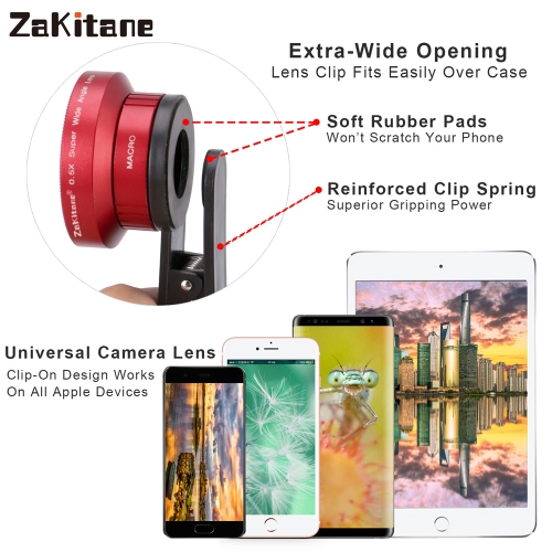 Zakitane Portable Camera Lens 0.5X Super Wide Lens 15X Macro Lens Clip-On Cell Phone Camera Lenses For iPhoneX Samsung S8 Android/Cellphone &amp; Accessories<br>Zakitane Portable Camera Lens 0.5X Super Wide Lens 15X Macro Lens Clip-On Cell Phone Camera Lenses For iPhoneX Samsung S8 Android/<br>