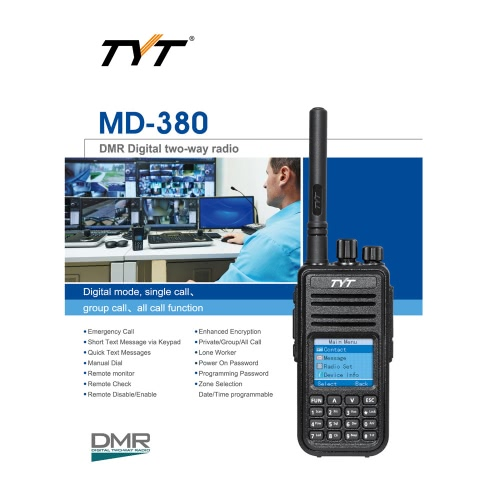 TYT MD-380 DTMF DMR Digital Transceiver Mobile 2-way Radio Walkie Talkie LCD Color Screen UHF FM Digital Analog Signal VOX CTCSS/DCellphone &amp; Accessories<br>TYT MD-380 DTMF DMR Digital Transceiver Mobile 2-way Radio Walkie Talkie LCD Color Screen UHF FM Digital Analog Signal VOX CTCSS/D<br>