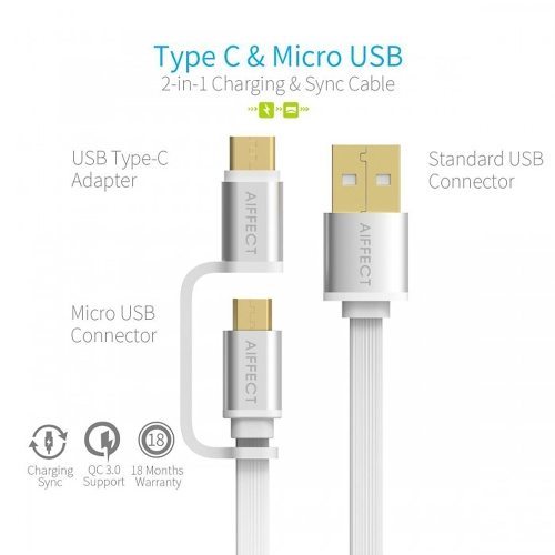 AIFFECT 3 Pack 3.3Ft USB 2.0 to Micro USB / Type C Charging Cable Sync Data Line Cord for Samsung 2-in-1Cellphone &amp; Accessories<br>AIFFECT 3 Pack 3.3Ft USB 2.0 to Micro USB / Type C Charging Cable Sync Data Line Cord for Samsung 2-in-1<br>