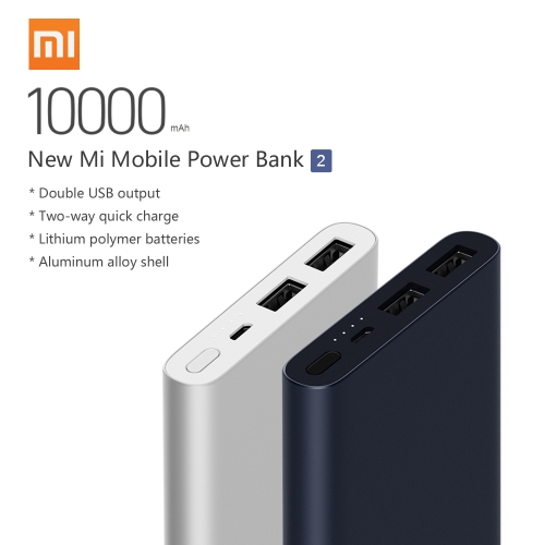 2018 Original New Version Xiaomi Mi Power Bank 2 Portable 10000mAh External Backup Power Station Large Capacity 2-way Quick Charge Safe for iPhone X 8 Plus Samsung S9 Plus Smartphones Tablet
