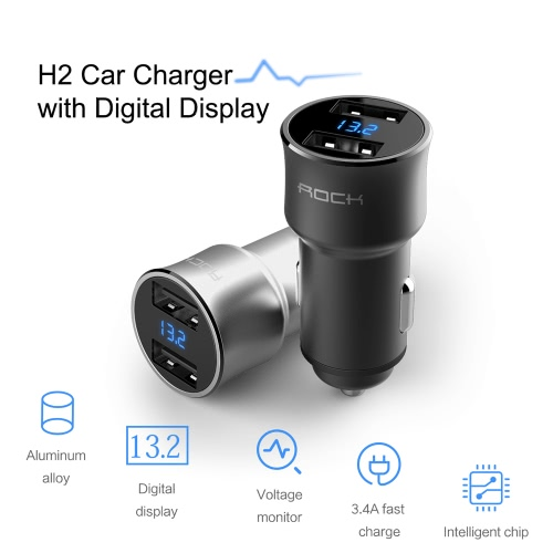 ROCK H2 Dual USB Car Charger with Digital LED Display 5V/3.4A Aluminium Alloy Fast Charging Voltage Monitoring for iPhone SamsungCellphone &amp; Accessories<br>ROCK H2 Dual USB Car Charger with Digital LED Display 5V/3.4A Aluminium Alloy Fast Charging Voltage Monitoring for iPhone Samsung<br>