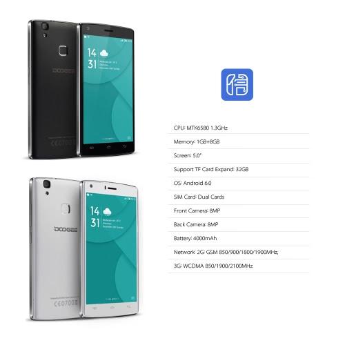 DOOGEE X5 MAX Smartphone 3G WCDMA MTK6580 5.0 IPS HD 1280 * 720 Pixels Screen Android 6.0 1G+8G 8MP+8MP Dual Cameras FingerprintCellphone &amp; Accessories<br>DOOGEE X5 MAX Smartphone 3G WCDMA MTK6580 5.0 IPS HD 1280 * 720 Pixels Screen Android 6.0 1G+8G 8MP+8MP Dual Cameras Fingerprint<br>