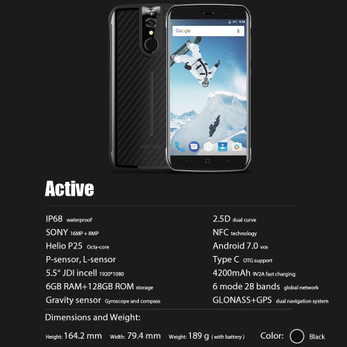 Vernee Active IP68 4G Smartphone 5.5 Inches FHD 6GB+128GBCellphone &amp; Accessories<br>Vernee Active IP68 4G Smartphone 5.5 Inches FHD 6GB+128GB<br>