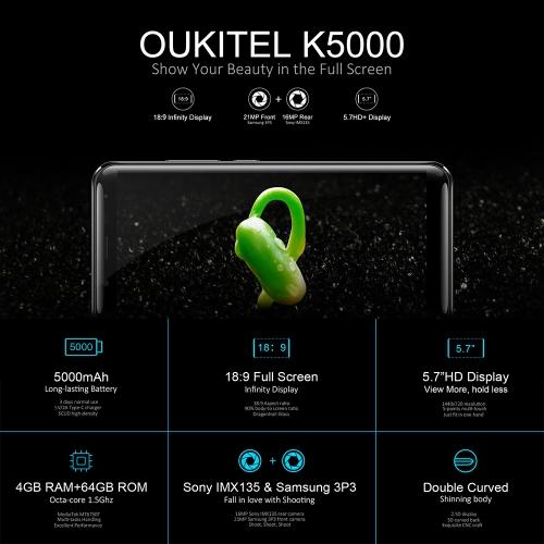 OUKITEL K5000 5.7-inch 18:9 Bezel-less Mobile Phone 4G-LTE Fingerprint Smartphone 4GB RAM 64GB ROMCellphone &amp; Accessories<br>OUKITEL K5000 5.7-inch 18:9 Bezel-less Mobile Phone 4G-LTE Fingerprint Smartphone 4GB RAM 64GB ROM<br>