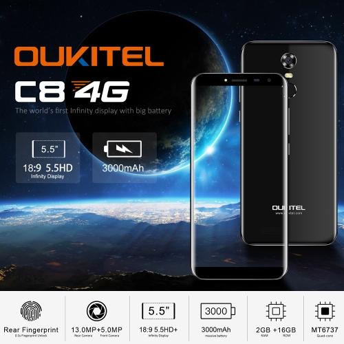 OUKITEL C8 4G Mobile Phone 18:9 5.5 Inch HD 2GB RAM 16GB ROMCellphone &amp; Accessories<br>OUKITEL C8 4G Mobile Phone 18:9 5.5 Inch HD 2GB RAM 16GB ROM<br>