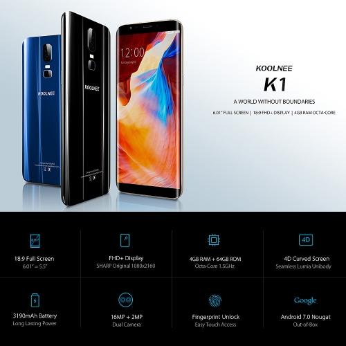 KOOLNEE K1 4G Smartphone 6.01-Inch 18:9 Screen 4GB RAM 64GB ROMCellphone &amp; Accessories<br>KOOLNEE K1 4G Smartphone 6.01-Inch 18:9 Screen 4GB RAM 64GB ROM<br>