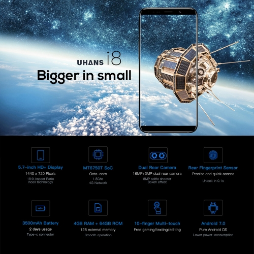 UHANS i8 Face Recognition 5.7-inches 18:9 Full Screen Smartphone  4GB RAM 64GB ROMCellphone &amp; Accessories<br>UHANS i8 Face Recognition 5.7-inches 18:9 Full Screen Smartphone  4GB RAM 64GB ROM<br>