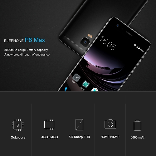 Elephone P8 Max 4G Smartphone 5.5 Inches 4GB+64GBCellphone &amp; Accessories<br>Elephone P8 Max 4G Smartphone 5.5 Inches 4GB+64GB<br>