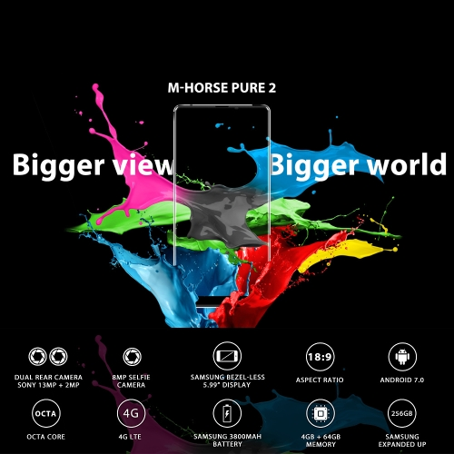 M-HORSE Pure 2 4G Smartphone 18:9 Bezel-less 4GB RAM 64GB ROMCellphone &amp; Accessories<br>M-HORSE Pure 2 4G Smartphone 18:9 Bezel-less 4GB RAM 64GB ROM<br>