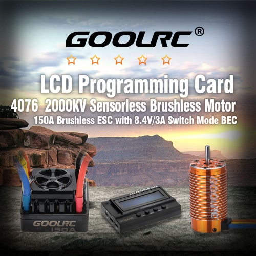 GoolRC 4076 2000KV Sensorless Brushless Motor &amp; 150A Brushless ESC with 8.4V/3A Switch Mode BEC &amp; LCD Programming Card Combo Set fToys &amp; Hobbies<br>GoolRC 4076 2000KV Sensorless Brushless Motor &amp; 150A Brushless ESC with 8.4V/3A Switch Mode BEC &amp; LCD Programming Card Combo Set f<br>