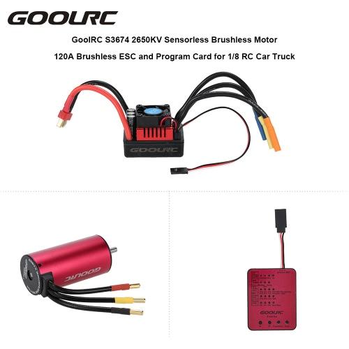 GoolRC S3674 2650KV Sensorless Brushless Motor 120A Brushless ESC and Program Card Combo Set for 1/8 RC Car TruckToys &amp; Hobbies<br>GoolRC S3674 2650KV Sensorless Brushless Motor 120A Brushless ESC and Program Card Combo Set for 1/8 RC Car Truck<br>