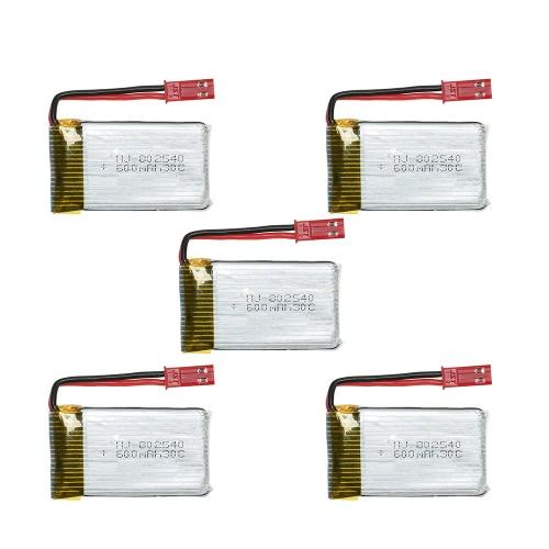 5Pcs 3.7V 600mAh 30C Lipo Battery Kit for Syma X5SW JJRC H5C Walkera QR W100S RC QuadcopterToys &amp; Hobbies<br>5Pcs 3.7V 600mAh 30C Lipo Battery Kit for Syma X5SW JJRC H5C Walkera QR W100S RC Quadcopter<br>