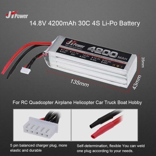 JHpower 14.8V 4200mAh 30C 4S Li-Po Battery for RC Drone Car Boat TruckToys &amp; Hobbies<br>JHpower 14.8V 4200mAh 30C 4S Li-Po Battery for RC Drone Car Boat Truck<br>