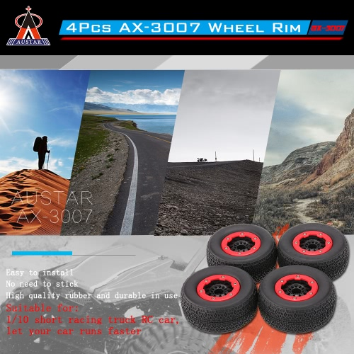 4Pcs AUSTAR AX-3007 High Performance 108mm 1/10 Scale Tires with Wheel Rim for 1/10 Short Racing Truck RC CarToys &amp; Hobbies<br>4Pcs AUSTAR AX-3007 High Performance 108mm 1/10 Scale Tires with Wheel Rim for 1/10 Short Racing Truck RC Car<br>