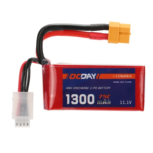 OCDAY 11.1V 1300mAh 75C 3S High Discharge LiPo Battery with XT60 Plug for RC 150-280 Racing Quadcopter QAV180 QAV250 ZMR250 DroneToys &amp; Hobbies<br>OCDAY 11.1V 1300mAh 75C 3S High Discharge LiPo Battery with XT60 Plug for RC 150-280 Racing Quadcopter QAV180 QAV250 ZMR250 Drone<br>