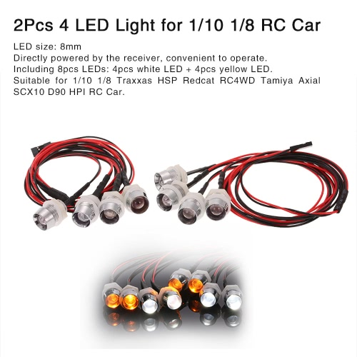 2Pcs 4 LED Lights Kit 2 White 2 Yellow for 1/10 1/8 Traxxas HSP Redcat RC4WD Tamiya Axial SCX10 D90 HPI RC CarToys &amp; Hobbies<br>2Pcs 4 LED Lights Kit 2 White 2 Yellow for 1/10 1/8 Traxxas HSP Redcat RC4WD Tamiya Axial SCX10 D90 HPI RC Car<br>