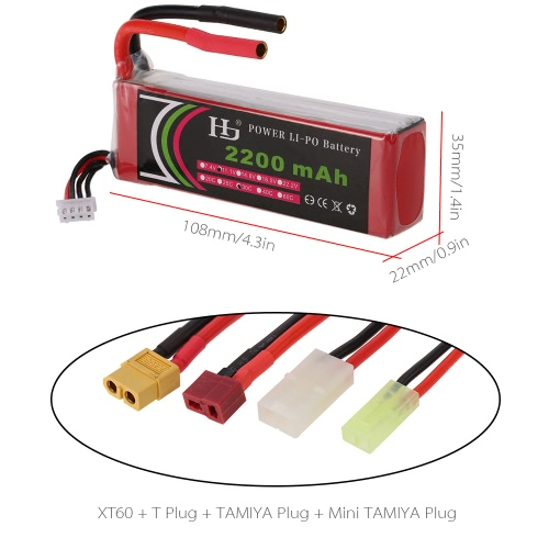 HJ 11.1V 3S 2200mAh 30C Universal LiPo Battery with XT60 T Plug TAMIYA Mini TAMIYA for FPV Racing Quadcopter RC Car BoatToys &amp; Hobbies<br>HJ 11.1V 3S 2200mAh 30C Universal LiPo Battery with XT60 T Plug TAMIYA Mini TAMIYA for FPV Racing Quadcopter RC Car Boat<br>