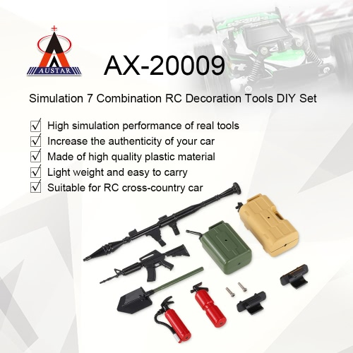 Austar AX-20009 Decoration Tools 7 Simulation Combination DIY Kit for 1/10 Traxxas HSP Redcat TAMIYA CC01 SCX10 D90 RC Rock Crawle
