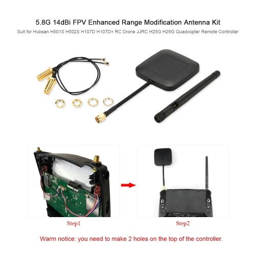 5.8G 14dBi FPV Enhanced Range Modification Antenna Kit for Hubsan H501S H502S H107D H107D+ RC Drone JJRC H25G H29G Quadcopter RemoToys &amp; Hobbies<br>5.8G 14dBi FPV Enhanced Range Modification Antenna Kit for Hubsan H501S H502S H107D H107D+ RC Drone JJRC H25G H29G Quadcopter Remo<br>