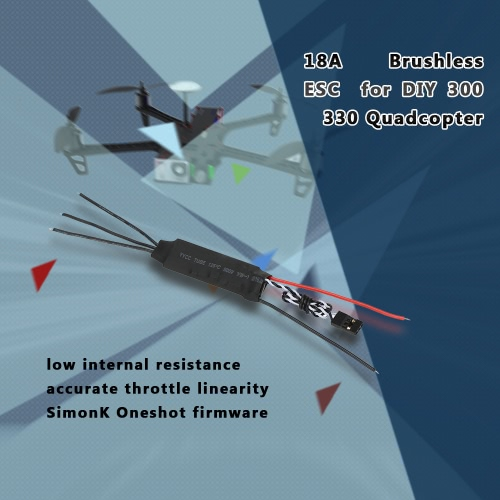 18A Brushless ESC Electronic Speed Controller with Low Internal Resistance for QAV250 300 330 RC Quadcopter MulticopterToys &amp; Hobbies<br>18A Brushless ESC Electronic Speed Controller with Low Internal Resistance for QAV250 300 330 RC Quadcopter Multicopter<br>
