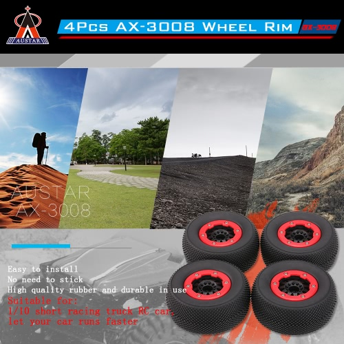 4Pcs AUSTAR AX-3008 High Performance 108mm 1/10 Scale Tires with Wheel Rim for 1/10 Short Racing Truck RC CarToys &amp; Hobbies<br>4Pcs AUSTAR AX-3008 High Performance 108mm 1/10 Scale Tires with Wheel Rim for 1/10 Short Racing Truck RC Car<br>