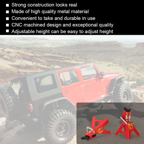 2 Pcs 6 TON Scale Adjustable Height Metal Jack Stand Repairing Tool for 1/10 D90 Axial Wraith SCX10 Rock Crawler RC CarToys &amp; Hobbies<br>2 Pcs 6 TON Scale Adjustable Height Metal Jack Stand Repairing Tool for 1/10 D90 Axial Wraith SCX10 Rock Crawler RC Car<br>