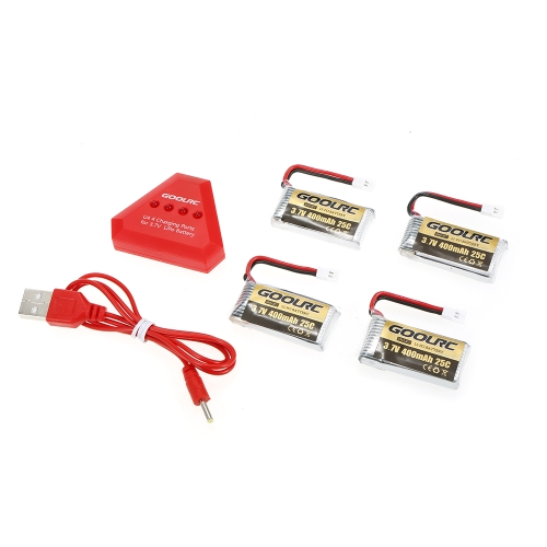 4pcs GoolRC 400mAh 3.7V 25C LiPo Battery with 4 in 1 USB Charger for Holy Stone HS170 Hubsan H107C H107D Syma X11 X11CToys &amp; Hobbies<br>4pcs GoolRC 400mAh 3.7V 25C LiPo Battery with 4 in 1 USB Charger for Holy Stone HS170 Hubsan H107C H107D Syma X11 X11C<br>