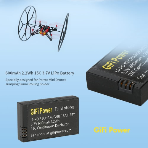 GiFi Power 600mAh 2.2Wh 15C 3.7V LiPo Battery for Parrot Mini Drones Jumping Sumo Rolling SpiderToys &amp; Hobbies<br>GiFi Power 600mAh 2.2Wh 15C 3.7V LiPo Battery for Parrot Mini Drones Jumping Sumo Rolling Spider<br>