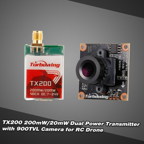Turbowing TX200 200mW/20mW FPV Transmitter 5.8G 40CH with 900TVL Camera for RC Drone QuadcopterToys &amp; Hobbies<br>Turbowing TX200 200mW/20mW FPV Transmitter 5.8G 40CH with 900TVL Camera for RC Drone Quadcopter<br>