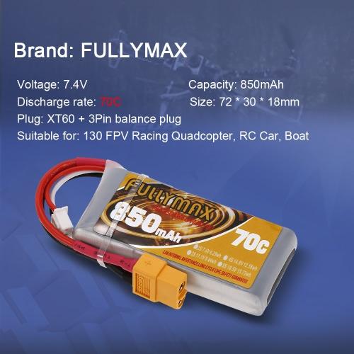 FULLYMAX 2S 7.4V 850mAh 70C High Rate XT60 Plug LiPo Battery for 130 FPV Racing Quadcopter RC Car BoatToys &amp; Hobbies<br>FULLYMAX 2S 7.4V 850mAh 70C High Rate XT60 Plug LiPo Battery for 130 FPV Racing Quadcopter RC Car Boat<br>