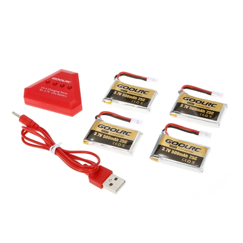 4pcs GoolRC 500mAh 3.7V 25C LiPo Battery with 4 in 1 USB Charger for Syma X5 X5SW X5C X5C-1 RC QuadcopterToys &amp; Hobbies<br>4pcs GoolRC 500mAh 3.7V 25C LiPo Battery with 4 in 1 USB Charger for Syma X5 X5SW X5C X5C-1 RC Quadcopter<br>