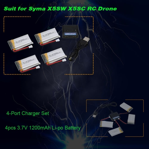 4 in 1 Charger Set with 4pcs 3.7V 1200mAh Li-po Battery for Syma X5SW X5SC RC QuadcopterToys &amp; Hobbies<br>4 in 1 Charger Set with 4pcs 3.7V 1200mAh Li-po Battery for Syma X5SW X5SC RC Quadcopter<br>
