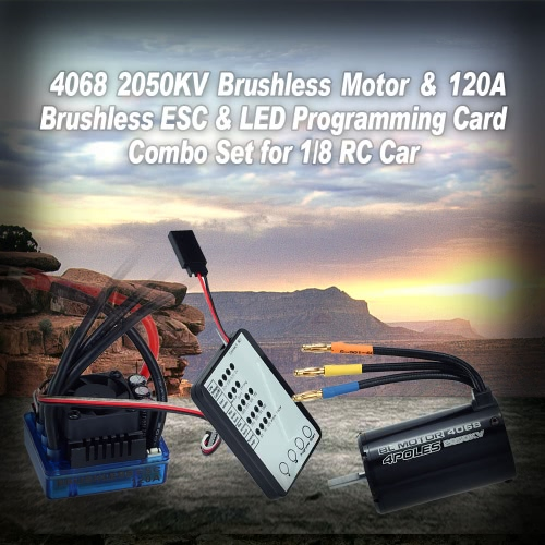 4068 2050KV Brushless Motor & 120A Brushless ESC & LED Programming Card Combo Set for 1/8 RC Car