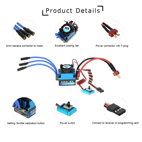 60A Brushless Sensorless 2-3S LiPo ESC Electric Speed Controller for 1/10 RC Racing Car Truck with T PlugToys &amp; Hobbies<br>60A Brushless Sensorless 2-3S LiPo ESC Electric Speed Controller for 1/10 RC Racing Car Truck with T Plug<br>