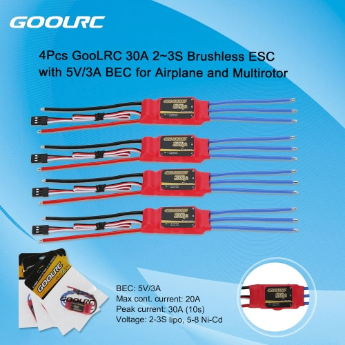 GoolRC 30A 2~3S Brushless Simonk ESC Electronic Speed Controller with 5V/3A BEC for DJI F450 F550 QuadcopterToys &amp; Hobbies<br>GoolRC 30A 2~3S Brushless Simonk ESC Electronic Speed Controller with 5V/3A BEC for DJI F450 F550 Quadcopter<br>
