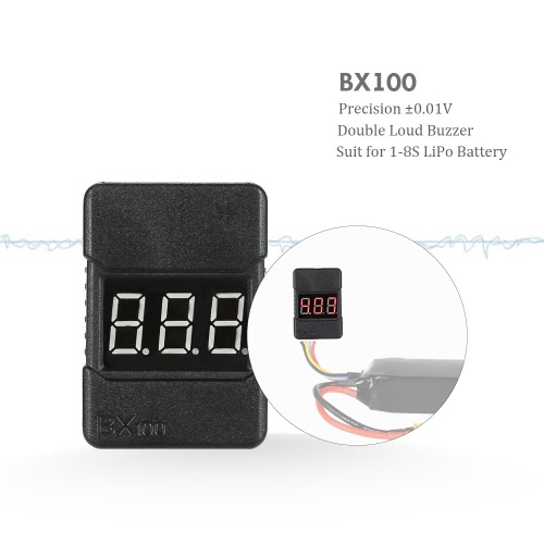 BX100 1-8S LiPo Battery Voltage Tester Low Voltage Buzzer Alarm with LED IndicatorToys &amp; Hobbies<br>BX100 1-8S LiPo Battery Voltage Tester Low Voltage Buzzer Alarm with LED Indicator<br>
