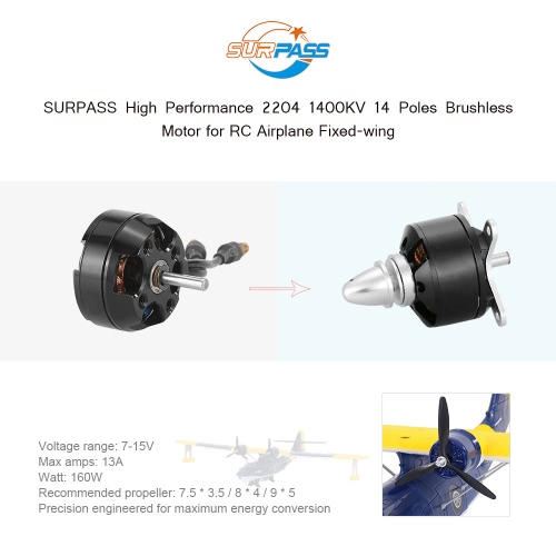 Original SURPASS High Performance 2204 1400KV 14 Poles Brushless Motor for RC Airplane Fixed-wingToys &amp; Hobbies<br>Original SURPASS High Performance 2204 1400KV 14 Poles Brushless Motor for RC Airplane Fixed-wing<br>