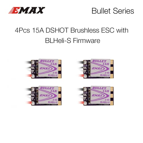 4Pcs EMAX 15A Brushless ESC Bullet Series BLHeli-S Dshot 2-4S Electric Speed Controller for 88 90 100 FPV Racer QuadcopterToys &amp; Hobbies<br>4Pcs EMAX 15A Brushless ESC Bullet Series BLHeli-S Dshot 2-4S Electric Speed Controller for 88 90 100 FPV Racer Quadcopter<br>