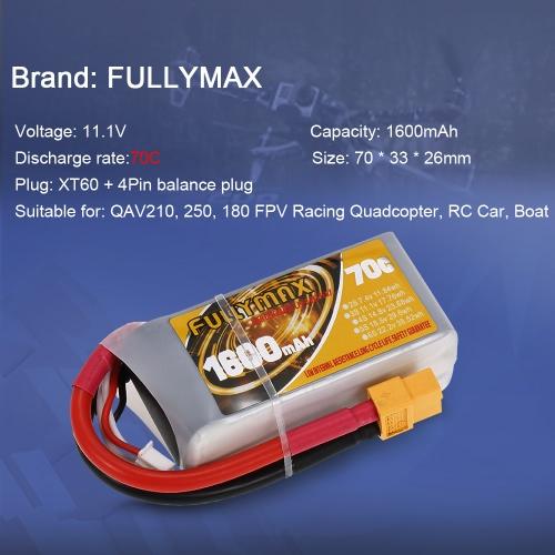 FULLYMAX 3S 11.1V 1600mAh 70C High Rate XT60 Plug LiPo Battery for QAV250 H210 LS180 FPV Racing Quadcopter RC Car BoatToys &amp; Hobbies<br>FULLYMAX 3S 11.1V 1600mAh 70C High Rate XT60 Plug LiPo Battery for QAV250 H210 LS180 FPV Racing Quadcopter RC Car Boat<br>