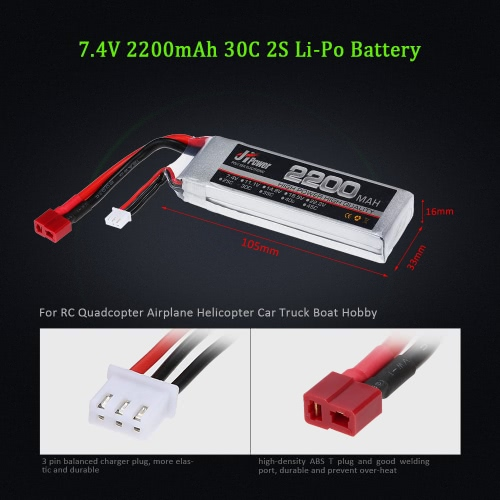 JHpower 7.4V 2200mAh 30C 2S Li-Po Battery with T Plug for RC Car Boat Airplane HelicopterToys &amp; Hobbies<br>JHpower 7.4V 2200mAh 30C 2S Li-Po Battery with T Plug for RC Car Boat Airplane Helicopter<br>