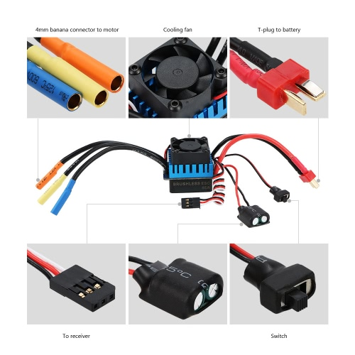Original GoolRC 3650 4370KV 4P Sensorless Brushless Motor &amp; 45A Brushless ESC for 1/10 Off-road RC CarToys &amp; Hobbies<br>Original GoolRC 3650 4370KV 4P Sensorless Brushless Motor &amp; 45A Brushless ESC for 1/10 Off-road RC Car<br>