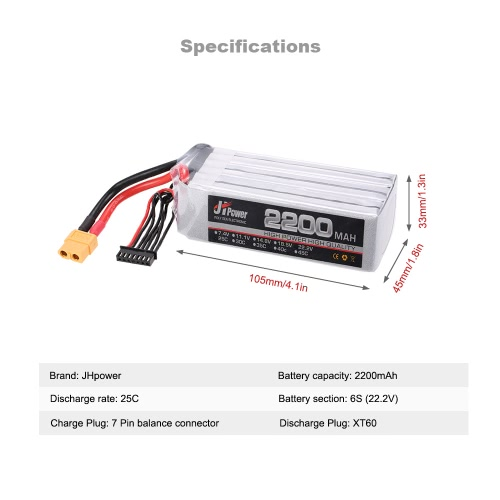 JHpower 22.2V 2200mAh 25C 6S LiPo Battery with XT60 Plug for RC 550 Multirotor Quadcopter Drone Car Boat Airplane HelicopterToys &amp; Hobbies<br>JHpower 22.2V 2200mAh 25C 6S LiPo Battery with XT60 Plug for RC 550 Multirotor Quadcopter Drone Car Boat Airplane Helicopter<br>